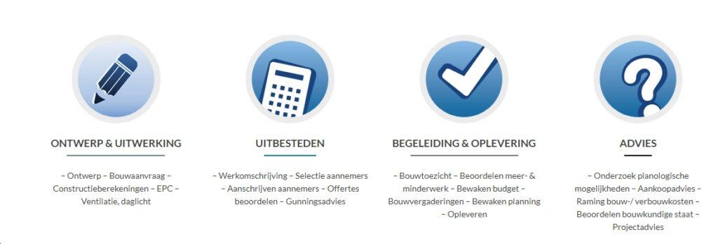 Diensten: Ontwerp&Uitwerking, Uitbesteden, Begeleiding en oplevering en Advies
