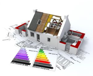 3D getekend huis met labels op 2D-bouwtekening