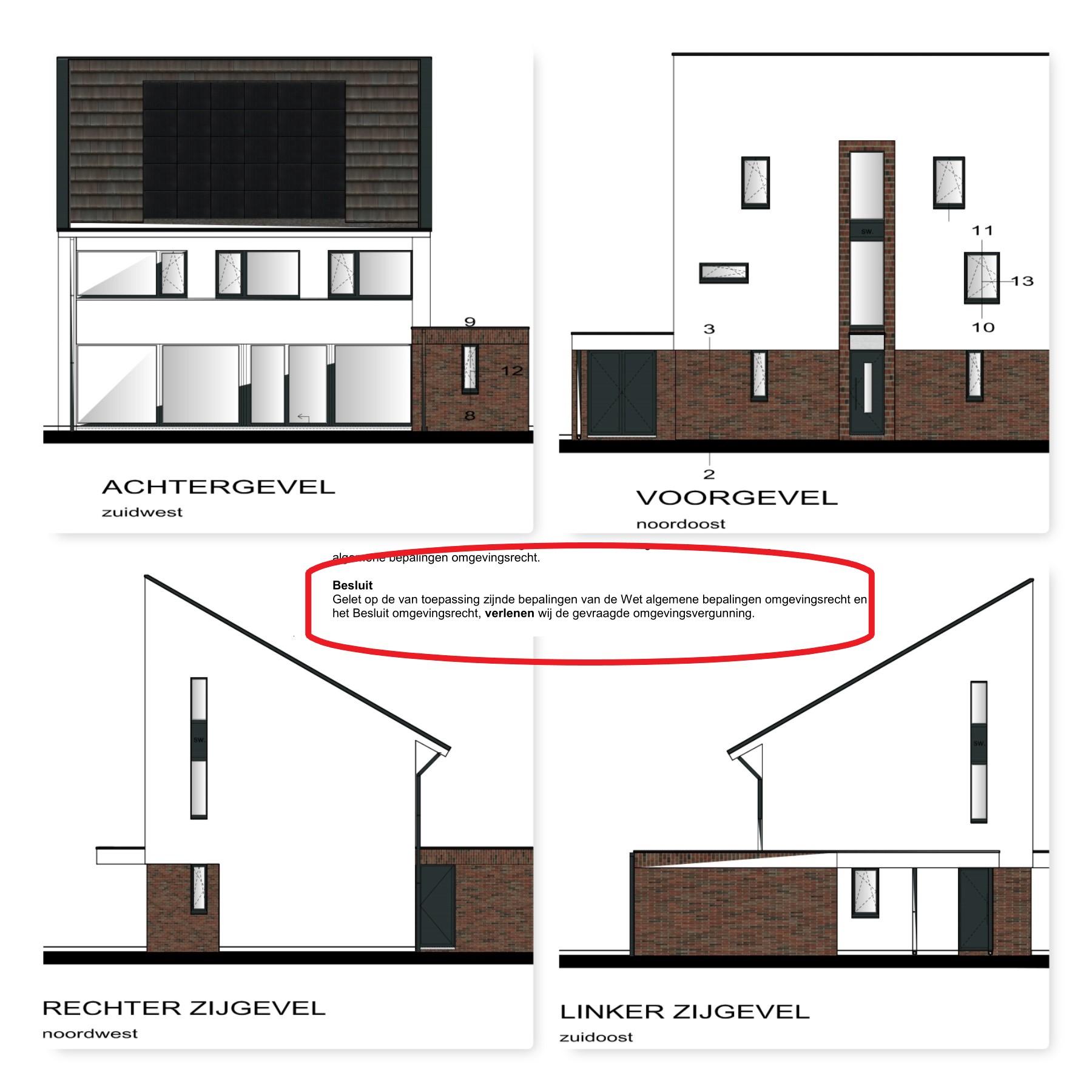 Vier zijaanzichten van het goedgekeurde bouw-ontwerp