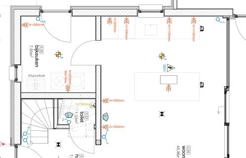 Detail elektraplan keuken en bijkeuken