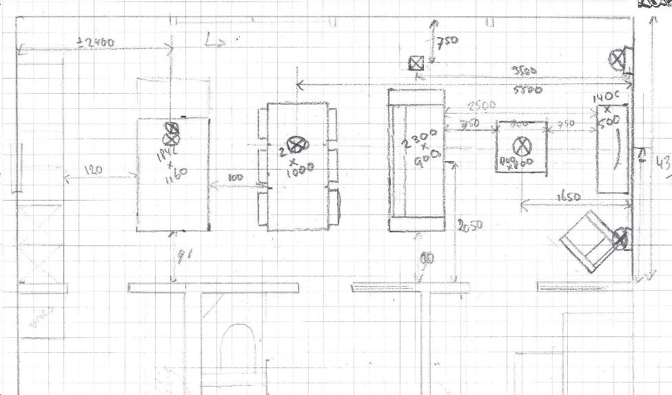 Getekende plattegrond woonkamer tbv lichtplan