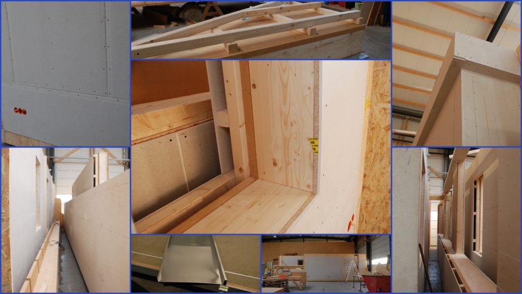 Collage bezoek TeHa Holzbouw Vreden (D) met foto's van de klaarstaande houten huisdelen