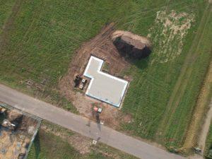 Gestortte funderingsvloer drone-zicht