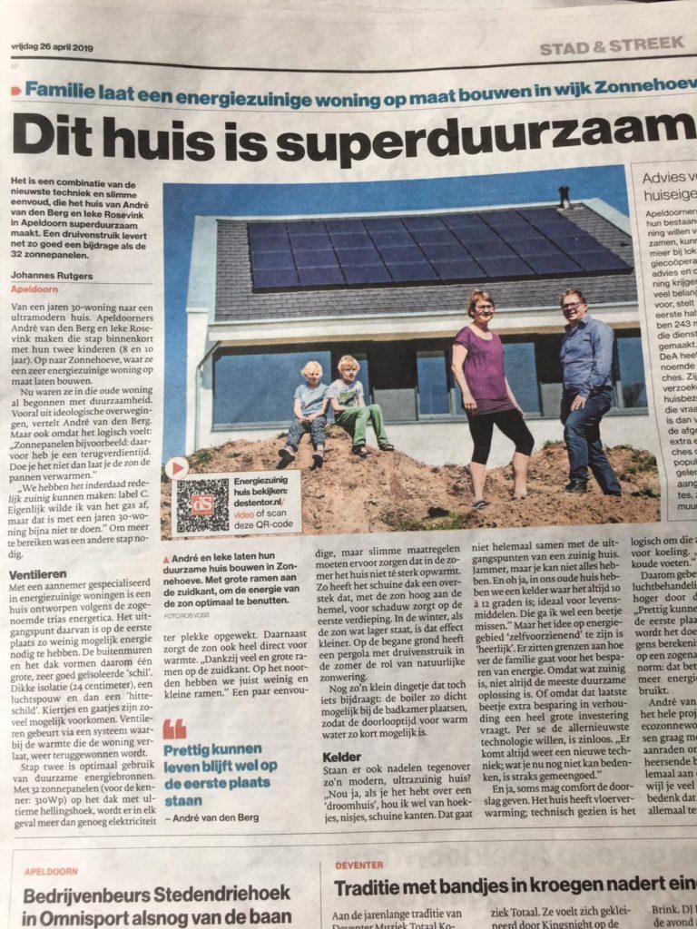 foto van artikel in De Stentor