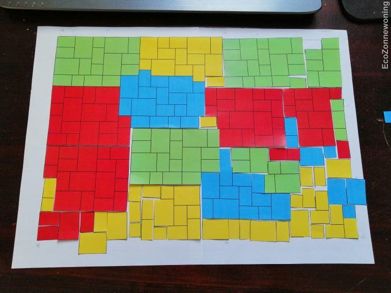 Legplan tegels in wildverband met verschillende kleuren